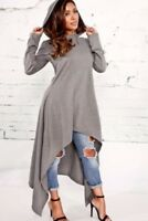 Gray Women Long Sleeve Hoodie Sweater Hooded Jumper Coat Pullover Tops USA