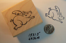 Flying pig  WM Rubber stamp P16