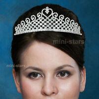 Bridal Wedding Pageant Sparkling Heart Tiara use Swarovski Crystal T1538