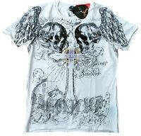 Amplified SAINT & SINNER HOLY SKULL STRASS Rock Star Tattoo ViP T-Shirt XL/XXL