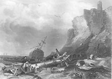 TYNEMOUTH CASTLE Northumberland Shipwreck on Rocks ~ 1840 Art Print Engraving