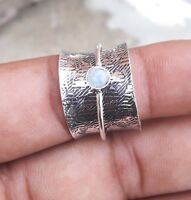 Rainbow Moonstone Solid 925 Sterling Silver Spinner Ring Meditation Ring Size a5