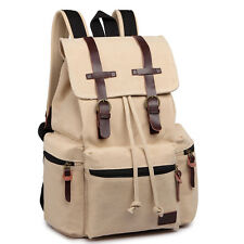 Unisex Real Leather Trims Tourist Camping Canvas Bag School Backpack Beige
