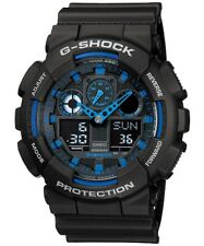Casio G-Shock Analogue/Digital Mens Black/Blue XL Watch GA100-1A2 GA-100-1A2DR