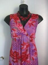 SIZE 14 SMART FLATTERING PINK RED PURPLE FLORAL SUMMER DRESS