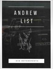 """SIGNED 2019 ANDREW LIST """"D2D MOTORSPORTS"""" MAZDA MX-5 CUP SERIES POSTCARD"""
