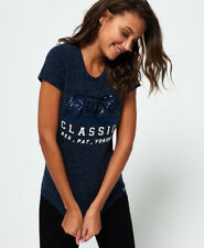 Superdry Ladies T-shirt Classic Sequin Entry Eclipse Navy Heathered S