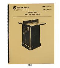 Rockwell Heavy Duty Delta Wood Shaper Early Models 43-05 to 43-351   #863