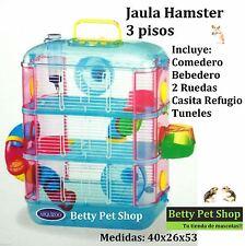JAULA HAMSTER 3 PISOS COMPLETA, Comedero, Bebedero, Noria, Tuneles.Muy divertida