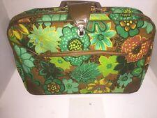 Vintage Blue Green Cloth Suitcase Travel Bag Overnight Case Childs