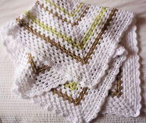 Baby Pram/Bassinet Throw. White/Green/Beige. Hand-Crocheted by myself. Boy/Girl