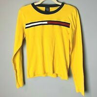 Tommy Hilfiger Women's Top Size Medium Long Sleeves 100% Cotton Yellow Blue Red