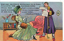 Romance Postcard - Young Lady Sitting on Chair and Young Man Standing   XX707