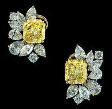 925 Sterling Silver Beautiful Yellow Radiant Flower Studs Earrings Jewelry Clust