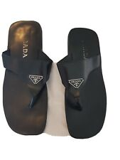 Mens, PRADA, black leather, flip flops. Size 10/ 44 europe