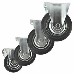 """3 / 4 / 5 / 6"""" Fixed Rubber Caster Wheels Trolley Furniture Castor"""