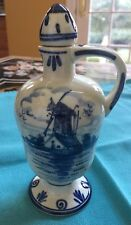 Delft Decanter/ Vinegar/Oil Jar Stopper Amsterdam Holland , Hand painted. Signed