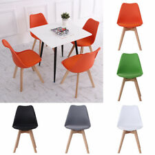 Set of 4 Dining Chairs PU Leather Padded Seat Wood Legs Cafe Kitchen Room Chairs