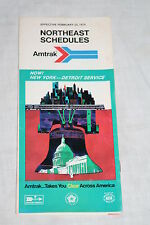 Vintage Amtrak Railroad Northeast Schedules February 23, 1975