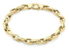 "Solid 9ct Yellow Gold Textured Double Link Chain Bracelet 23cm/9"" Womens Gift"