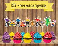 Digital Wiggles Cupcake Cake Topper Picks, Wiggles Birthday, Wiggles Party,