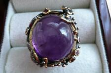 LARGE PURPLE AMETHYST & 925 SILVER BLACK RHODIUM & GOLD ROUND RING SZ K1/2 5.75