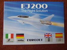 DEPLIANT PUB EUROJET FIAT AVIAZIONE MTU ROLLS SENER EJ200 ENGINE EUROFIGHTER