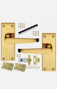 Monarch Victorian Brass Internal Door Pack - Handles Hinges Latch MDP31