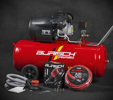 BURISCH Air Compressor 3HP 100 Litre + DA Sander + 10m Air Hose Kit 100 ltr