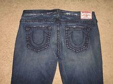 True Religion Size 31 Tony Big T Flare Dark Blue Stretch Denim Womens Jeans