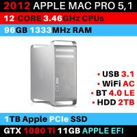 2012 Mac Pro 12-Core 3.46GHz 96GB RAM 1TB PCIe SSD GTX 1080Ti WiFi AC USB 3.1