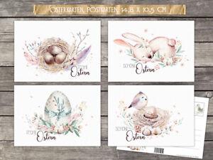 20 Osterkarten Aquarell, Postkarten Ostern, 4 Motive im Set 10,5x 14,8