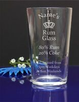 Personalised Your Name Engraved Pint Glass/ Rum and Coke/ B-day 287