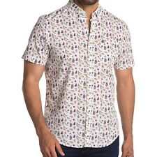 Original Penguin Men's Short Sleeve Fruit Print Button Front Shirt Bright White