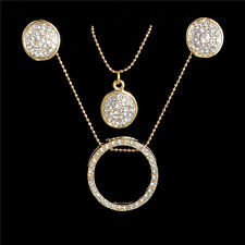 Gold Plated Necklace Double Pendant Crystal Earrings Womens Fashion Jewelry Set
