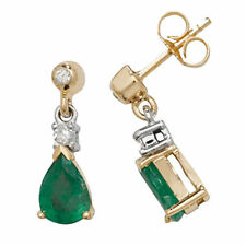 Unbranded Emerald Drop/Dangle Yellow Gold Fine Earrings
