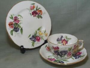 Vintage Hammersley Sweet Pea Tea Trio Cup Saucer & Side Plate Pattern 5049