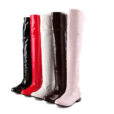 LADIES SHINY PATENT LEATHER OVER THE KNEE HIGH WOMENS COSPLAY BOOTS SHOES SIZE 8
