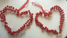 2 large Christmas tree Pearl Red Heart Decorations 13x13cms & ribbon for hanging