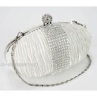 Stylish Ivory Diamante Wedding Ladies Party Prom Evening Clutch Hand Bag Purse
