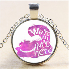 Cheshire Cat we're all mad here Cabochon Glass Tibet Silver Pendant Necklace