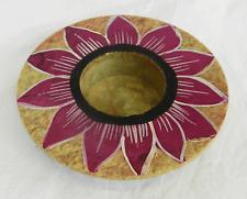 Hand Painted Lotus Design Soapstone Candle / Tea Light Holders - BNIB