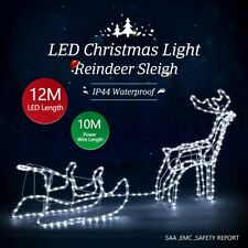 New Christmas Lights Reindeer Sleigh Motif 12M LED Rope Xmas Decoration Outdoor