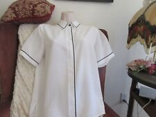 BLOUSE - Top Vintage  White S/S w/Navy Trim by Alfred Dunner Size 8 P