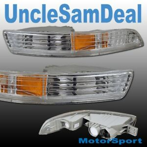 94-97 ACURA INTEGRA CLEAR CHROME CORNER BUMPER SIGNAL LIGHTS PAIR DIRECT FIT