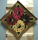 """Vintage Mid Century Floral Embroidered Tapestry 9"""" x 9"""" Japan Original Gift Box"""