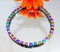 Armband Würfel Cube Hämatit lila grün blau gold mehrfarbig bunt silber  052q