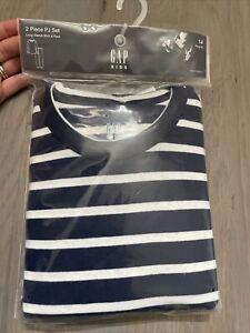 NWT Gap Kids boy WINTER HOLIDAY navy striped 2-piece long pajama SET 14 TWINS
