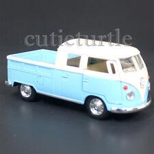 Kinsmart 1963 VW Volkswagen Bus Double Cab PickUp Truck 1:34 Diecast Light Blue