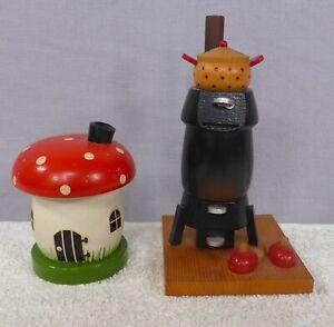 2 Vintage Smoking Man Type Incense Burners Christmas Germany Toadstool Stove